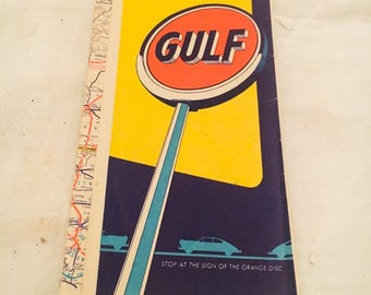 Vintage 1950's Gulf Oil advertising Kentucky & Tennessee road map tourgide