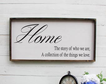 Home The Story Of Who We Are  Wall Art Rustic Bedroom Sign Bedroom Sign Couples Sign Above Bed Romantic Bedroom Decor Rustic