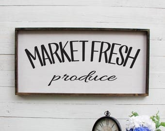 Market Fresh Produce Wooden Sign Large Produce Sign Wooden Kitchen Sign Kitchen Sign Wood Large Kitchen Sign Rustic Kitchen Sign Market Sign