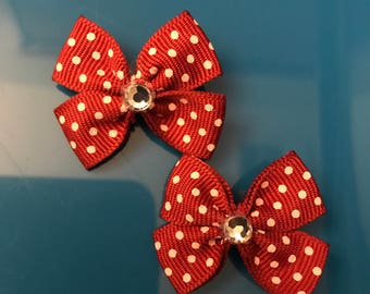 Red polka dotted hair bow