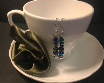 Blue, Silver and Gold Beaded Drop Earrings