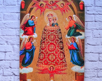 Virgin Mary-Mary-Mother and Child-Mother of God-Orthodox-Wooden-Wall hanging-Wall art-Wall decor-Home decor-Handmade icon