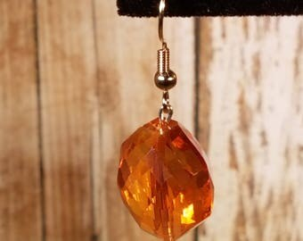 Orange Faceted Glass Earrings