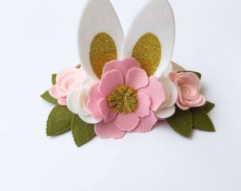 Easter floral crown easter bunny felt floral headband
