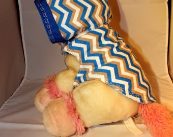 Handmade small dog hoodie blue and tan zig zag