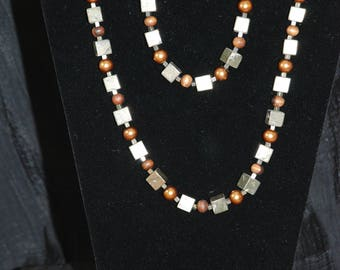Hematite Cube, Wooden Bead, Pearl Necklace & Bracelet Set