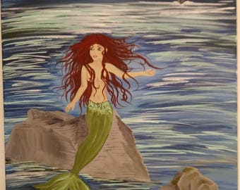 Siren / Mermaid Moon Light Scene W18 X H24 Stretched Canvas Acrylic Art Painting
