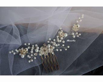 Cherry Blossom Flower Hair Comb - Bridal Headpiece - Elegant Floral Hair Comb - Floral Wedding Hair Piece - Wedding Hair Comb Accessories