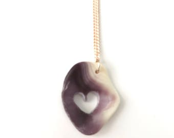 Wampum With Hand Drilled Heart Necklace