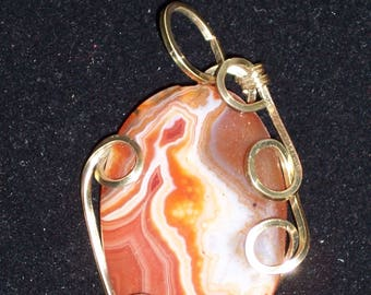 Red Agate Wire Wrapped Pendant