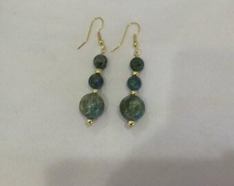 Turquoise green, blue earrings