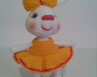 soft knitted toy Bunny in a dress chrochet toy for girl