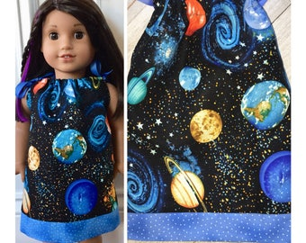 "18"" Doll Clothes/Doll Pillowcase Dress/American Girl Dress/American Girl Luciana/Luciana GOTY 2018/STEM/Outer space"