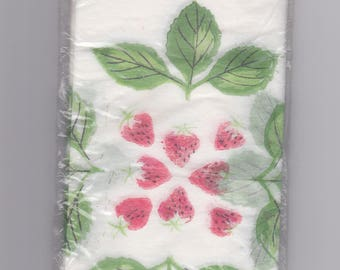 Vintage 1960s rice paper guest towels with strawberry motif