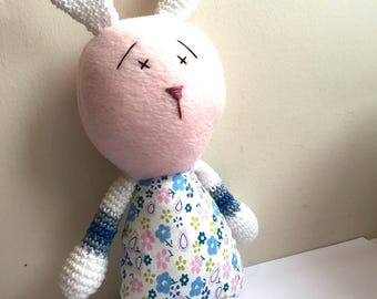 Belinda Bunny – Crochet and Fabric Plushie Soft Toy – BABY SAFE and UNIQUE