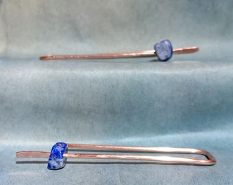 Lapis Lazuli and copper threader earring