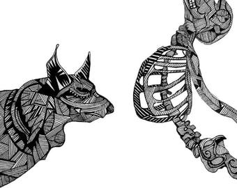Skeleton & Wolf Print