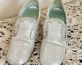 1960's Vintage Silver Glitter Heels