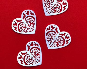Heart Die Cuts x 12 - Cardmaking, Scrapbooking, Papercrafts