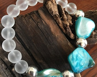 STONZ Creations a beautiful turquoise, frosted glass with sterling silver accents