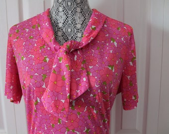 1950s Pink Floral Day Dress Large
