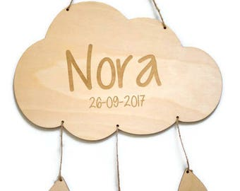 Name sign - Cloud with drops