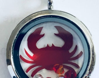 Floating Locket with Crab Decal and Crystals