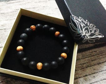 Natural - style black gemstone and wooden bracelet bollywood