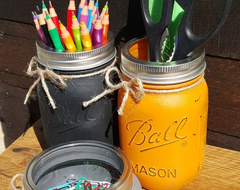 Painted Mason Jar Office Set, Farmhouse Desk Set, Desk Organizer