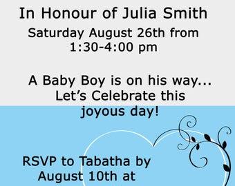 Baby Shower Invitation, Printable, 4x6