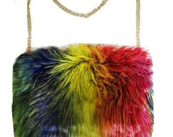 Rainbow Faux Fur Crossbody Clutch Bag with chain. Made of faux fur.