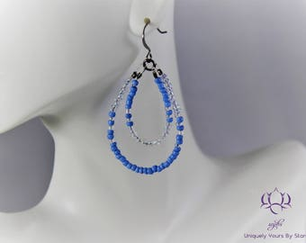 Modern Blue Beaded Earrings