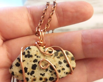Copper wire wrapped , Dalmatian Jasper pendant.