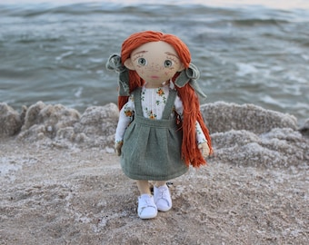 Textile doll Handmade doll Cotton doll Fabric doll Decorative Doll Little Girl toys Cloth Doll Redhead Doll Mother's day gift