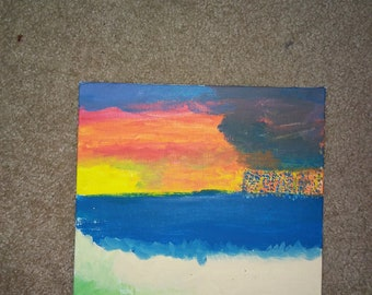 Ocean Storm Rainbow Painting
