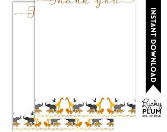 Safari Thank You Note Card / Jungle Thank You Note Card / Black Gold Animals Thank You Note Card / Elephant, lion, giraffe Monkey SF03