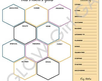 Monthly Goal Planner, 12-Month Planner, 95 Planner Pages - Letter, Instant Download