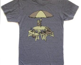 sloth picnic shirt, sloth t, pizza beer ice cream tshirt, sloth patio design, sloth party, unisex, free shipping