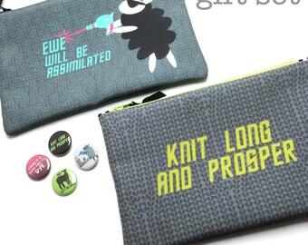 Star Trek Knitters Gift Set, Borg Sheep, Knit Long and Prosper, Star Trek Knitting Pun