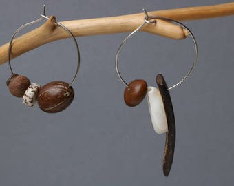 asymmetrical beaded hoops - exotic statement jewelry - mismatched ethnic earrings - coconut - cowrie shell - African style