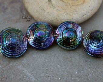 Peacock Orbits - Handmade Glass Lampwork  Beads SRA MTO