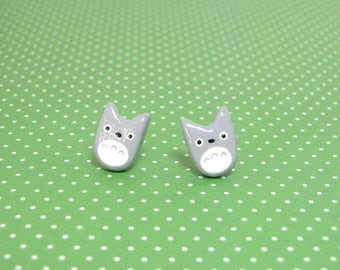 My Neighbor Totoro Clay Sterling Silver Post Earrings