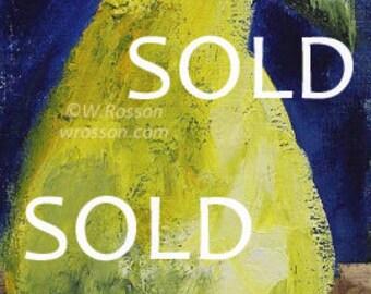 SOLD-----------------------------Pear Painting,  Pear, Still Life, Original Painting, Winjimir, Home Decor, Kitchen Decor, Food, Restaurant,