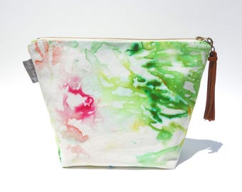 Delano Hand Dyed Large Organic Cotton Cosmetic Makeup Pouch Leather Tassel Lime Green Pink Coral