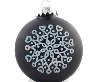 """Hand Painted Christmas Ornaments - 3 1/2"""" Plastic Disc Ornament - Black and White Mandala Zentangle Doodle Style"""