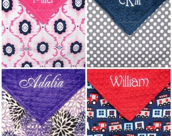 Personalized Baby Blanket , Embroidered Minky Baby Blanket for Baby Boy or Baby Girl , Design Your Own - Children and Kids
