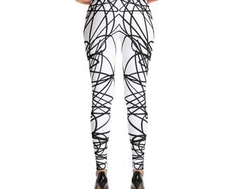 Black White Digital Printed, Drawing Leggings