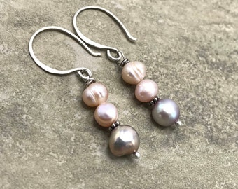 Pink Rain - Freshwater Pearl and Sterling Silver Earrings