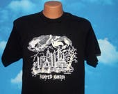 Haunted Mansion Glow in the Dark Black Large Tshirt Vintage 1990s