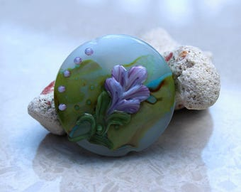Elizabeth Creations LAVENDER BLOOM spree focal artisan lampwork bead - SRA
